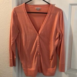 XL bright salmon pink button up v neck cardigan